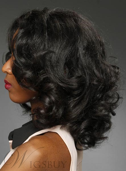 Afro Medium Wave Black Women Hairstyle Body Wavy Lace