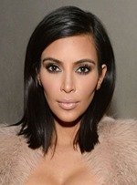Kim Kardashian Straight Mid-length Lace Front Human Hair Wigs 14 Inches