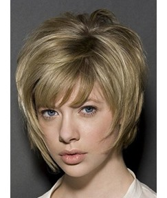 Fashionable Layered Stylish Short Straight Capless Human Hair Wig 8 Inches