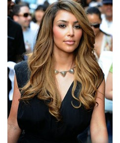 Kim Kardashian Side Bang Long Natural Wave Synthetic Lace Wig 22 Inches