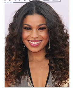 Jordin Sparks Middle Parting Long Curly Lace Front Synthetic Wigs 18 Inches
