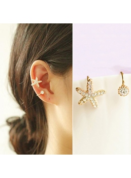 Lovely Starfish Rhinestone Women Ear Cuff