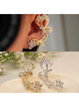 Unique Butterfly Rhinestone Women Ear Cuff (Left Ear)