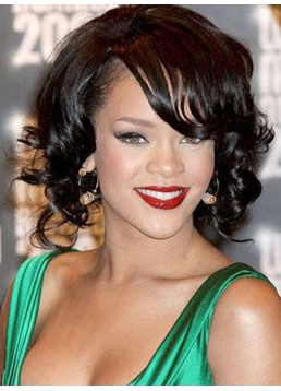 Rihanna Bob Hairstyle Short Wave 100% Human Hair Lace Front Wigs 10 Inches