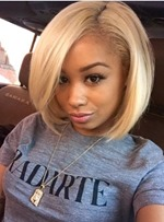 Afro Short Straight Bob Hairstyle Side Swept Fringes Lace Front Human Hair Wigs 10 Inches