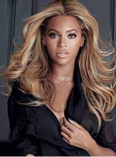 Beyonce Middle Parted Layered Long Wave Synthetic Lace Front Wigs 18 Inches