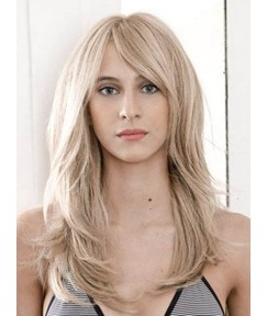 Soft Charming Long Layered Straight Full Lace Human Hair Wig 18 Inches