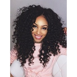 Clip In African American Kinky Curly Human Hair 7 PCS Clip In Hair Extensions
