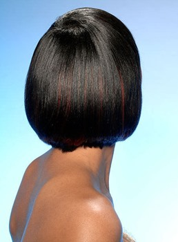 Black Women Short Straight Bob Hairstyle Deep Side Part Capless Synthetic Wigs 10 Inches