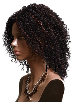 Black Women Mid-length Kinky Curly Capless Synthetic Wigs 12 Inches