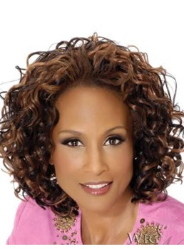 Beverly Johnson Mid-length Kinky Curly 100% Human Hair Lace Front Wigs 12 Inches