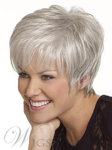 Granny Grey Human Hair Capless Layered Short Straight Wigs