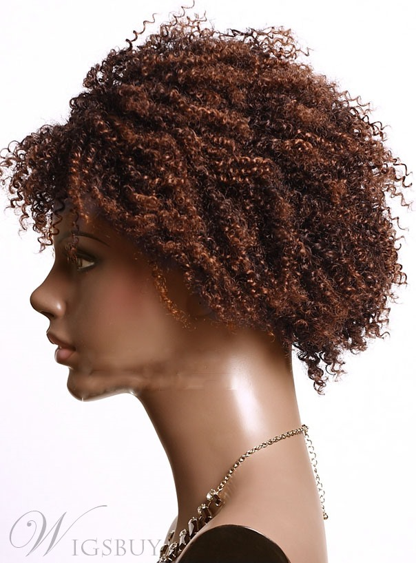 Light Brown Short Kinky Curly Bob Hairstyle Capless Synthetic Wigs for Black Women