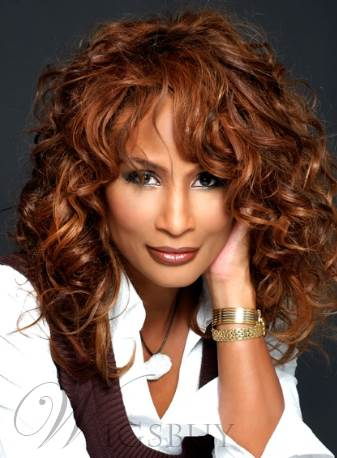 Beverly Johnson Textured Mid-length Curly Human Hair Capless Wigs 16 Inches