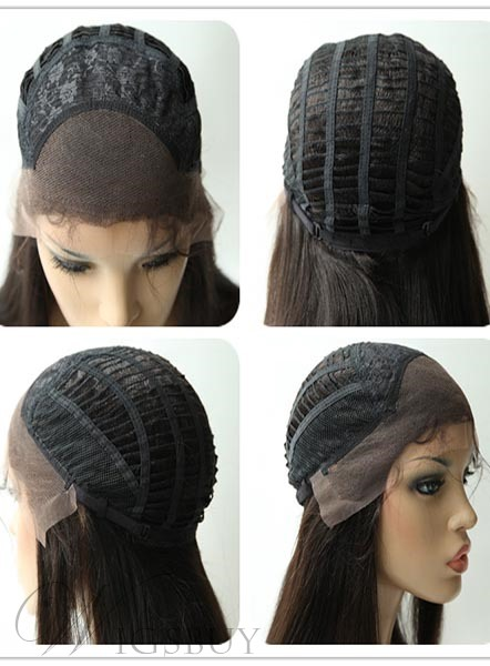 New Arrival Long Straight Lace Front Granny Human Hair Wig 18 Inches