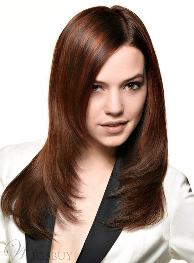 Stylish Long Layered Straight Lace Front Synthetic Wig 18 Inches
