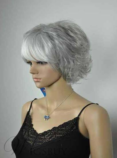 Salt and Pepper Short Curly Capless Synthetic Wigs for Older Women