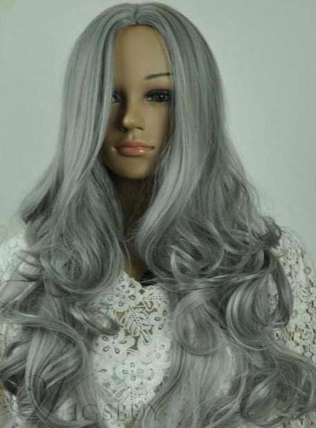 Long Natural Wave Granny Hairstyle Capless Wig 22 Inches