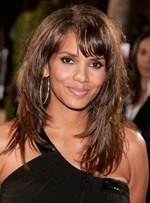 Halle Berry Layered Mid-Length Hairstyle with Bangs Human Hair Capless Wigs 16 Inches