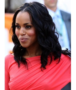 Kerry Washington Mid-Length Body Wave Center Parting Lace Front Human Hair Wigs 14 Inches