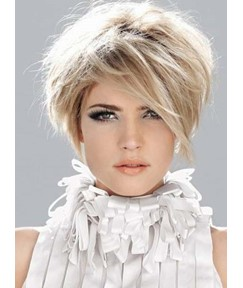 Fluffy Short Straight Monofilament Top Human Hair Wig