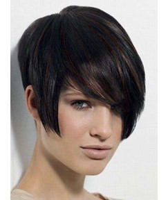Stylish Short Straight Capless Human Hair Wig 8 Inches