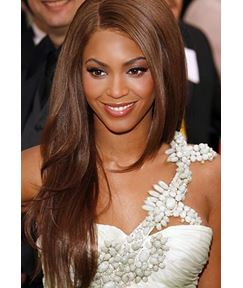 Beyonce Long Layered Straight Human Hair Side Swept Lace Front Wigs 22 Inches