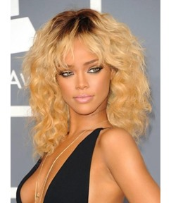 Rihanna Dark Root Capless Full Bang Body Wave Human Hair Wigs 14 Inches