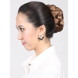 Golden Brown Clip In Synthetic Hand Braided Bun 140g