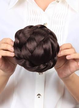 #6 Light Brown Custom Hand Tied Synthetic Bun 71g