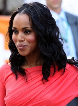 Kerry Washington mi-longueur naturel vague Centre Parting Lace Front cheveux perruques 14 pouces