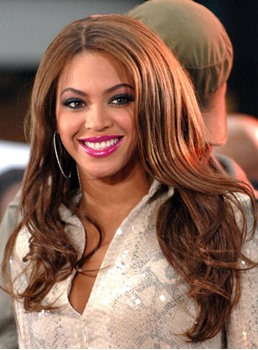 Beyonce Hairstyle Long Loose Wave Centre Parting Synthetic Lace Front Wigs 20 Inches