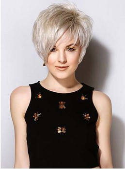Comfortable Short Layered Straight Full Lace Human Hair Wig 8 Inches