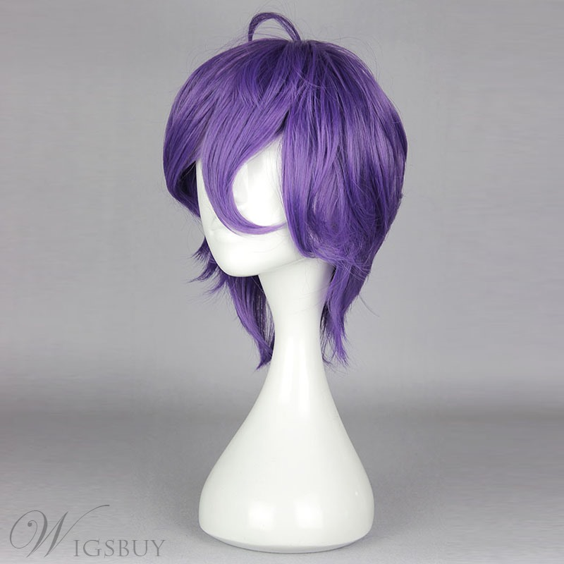 Purple Short Straight Cosplay Wig