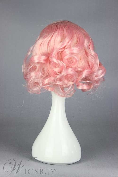 Adorable Lolita Pink Short Curly Cosplay Wig