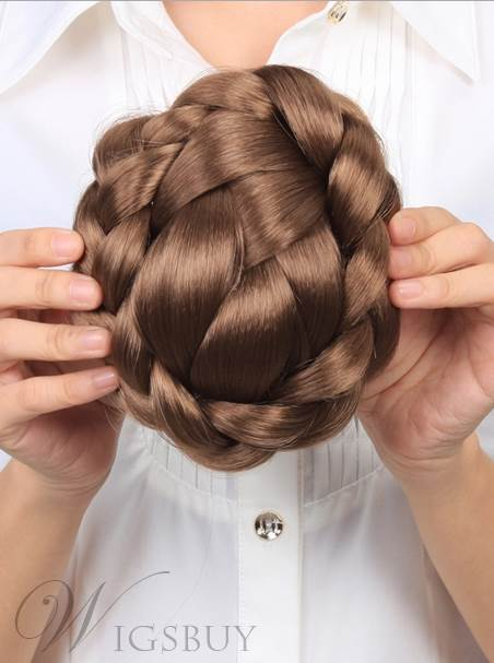 Or brun Clip à main synthétique tressé chignon 140g