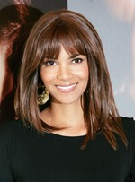 Halle Berry Full Bang Mid-length Straight Human Hair Capless Wigs 14 Inches