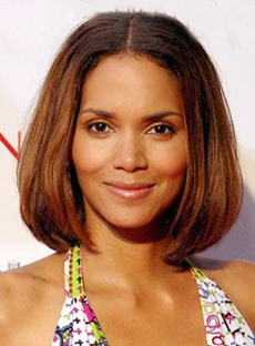 Halle Berry Short Straight Bob Hair Style Lace Front Synthetic Wigs 10 Inches