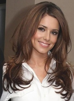 Cheryl Cole Deep Side Part Long Loose Wave Synthetic Lace Front Wigs 20 Inches