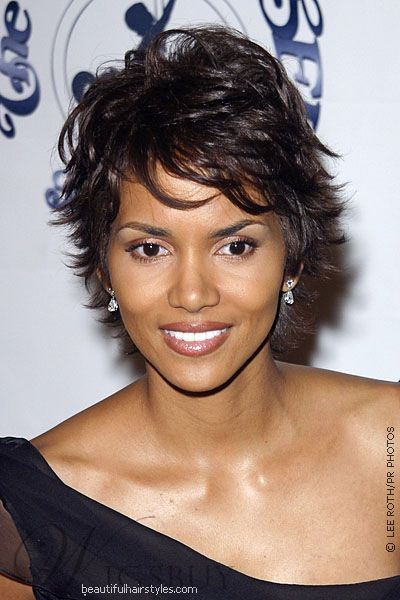 Halle Berry Layered Short Pixie Style Human Hair Full Lace Wigs 8 Inches
