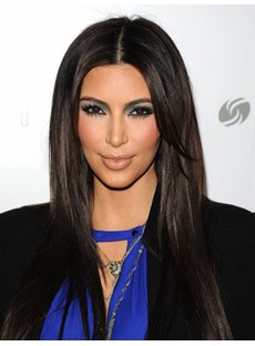 Kim Kardashian Long Silky Straight Middle Parting Human Hair Wigs 20 Inches