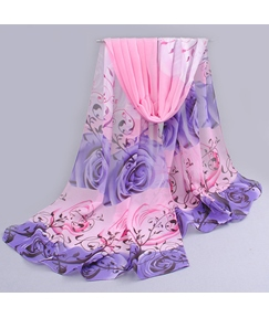 New Arrival Long Thin Chiffon Flower Pattern Scarf