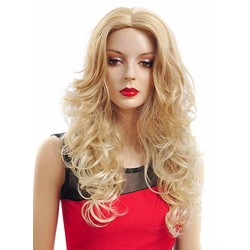 Charming Long Layered Deep Wave Golden Synthetic Wig