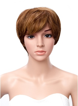 100% Real Human Hair Layered Short Straight Capless Cheap Wig