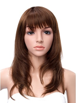 18 Inches Full Bang Natural Long Straight Capless Human Hair Wigs
