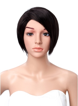 Short Straight Side Bang Lace Front Synthetic Wigs 10 Inches