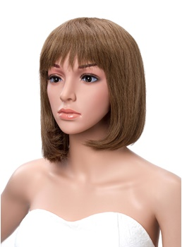 100% Human Hair Short Straight Bob Hairstyle Wig 10 Inches