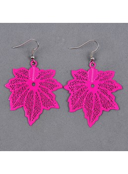 New Arrival Fluorescent Color Maple Leaf Earrings