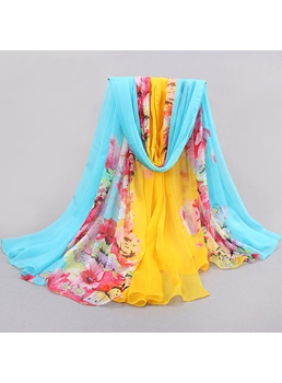 Beautiful Long Flower Pattern Mixed Colors Chiffon Scarf Tippet