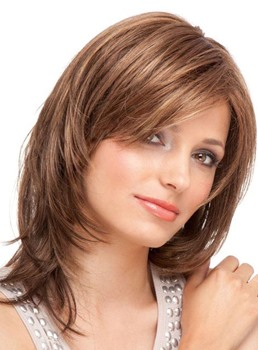 Graceful Medium Layered Straight Lace Front Synthetic Wig 14 Inches
